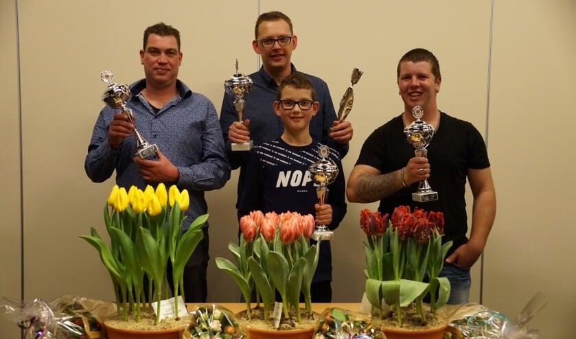 De vier prijswinnaars; Maurits Koeman, Ronald Mes, Lars Mes, Roel Kaagman.