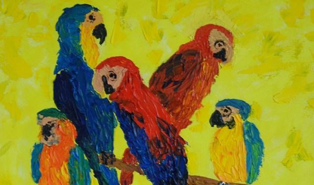 Papegaaien door Jose den Toom. Een van de werken te zien tijdens expositie ANNO.