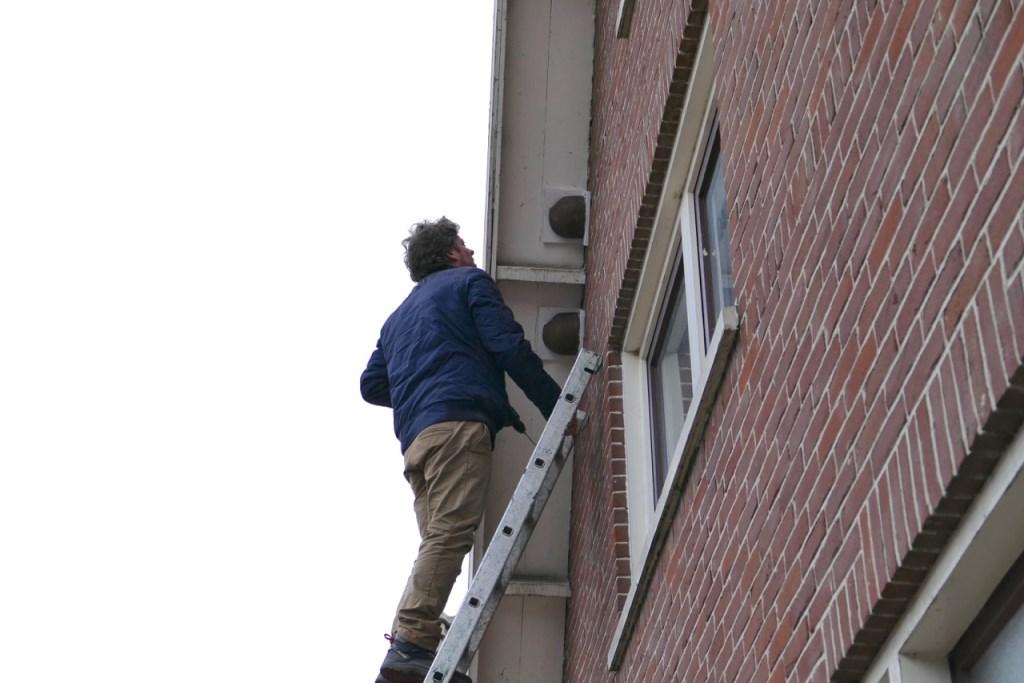 Arjan van Poecke hangt huiszwaluwnest op aan huis in de Kerkbuurt  © rodi