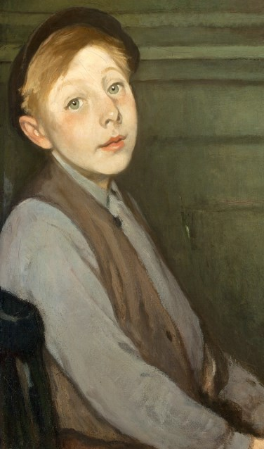 Jacobus van Looy Portret van een jongen met een hoed