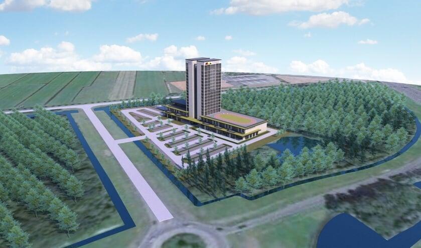 Het voorgestelde hotel telt 12 verdiepingen en zal omgeven worden door een oase aan groen en natuur.