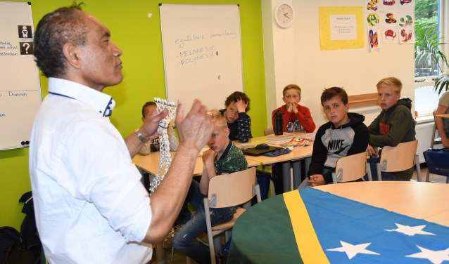 De leerlingen krijgen uitleg over de Solomons Eilanden.