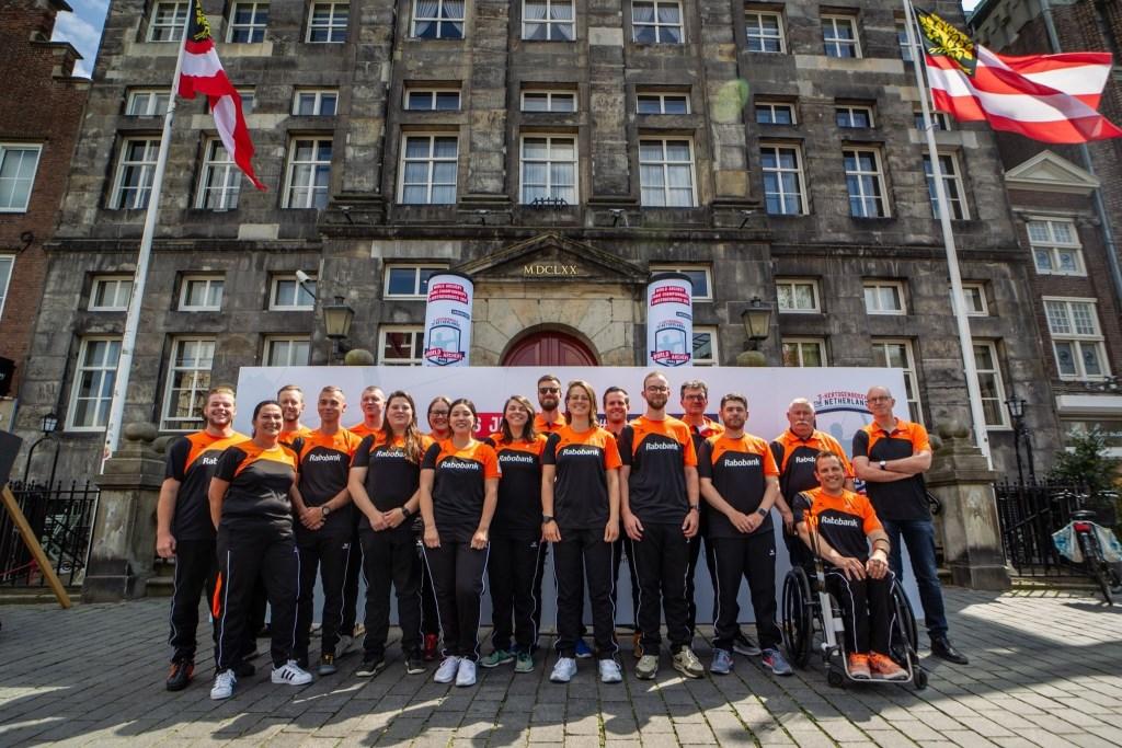 De delegatie die strijdt tijdens de wereldkampioenschap in 's Herthogenbosch. (Foto: Tim Buitenhuis) © rodi