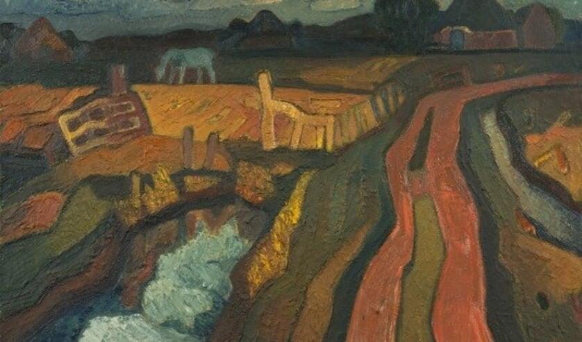 Rode landweg door Jaap Min, olieverf op doek, uit particuliere collectie.