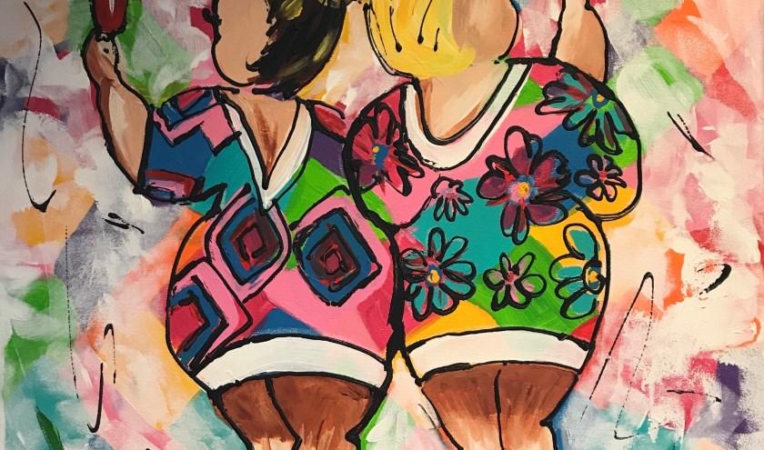 Eén van de schilderijen van Astrid Kooij.