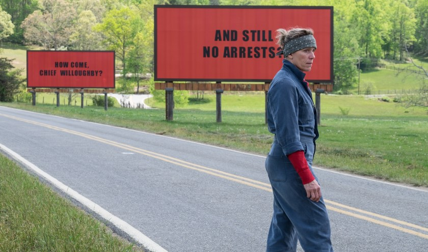 Beeldfragment uit de film 'Three Billboards Outside Ebbing, Missouri'.