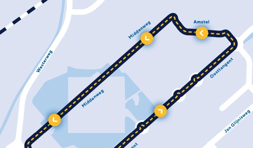 De route door Heerhugowaard die de renners zondag 11 augustus afleggen.