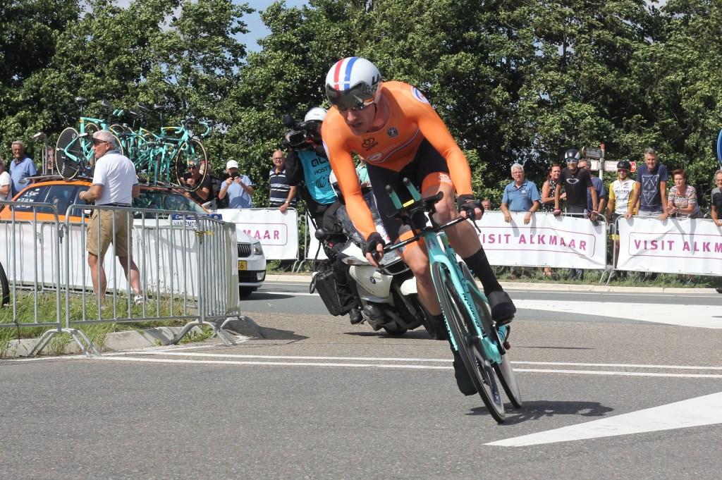 Jos van Emden werd de beste Nederlander op de tijdrit bij de mannen: hij werd achtste. (Foto: Frits van Eck) © rodi