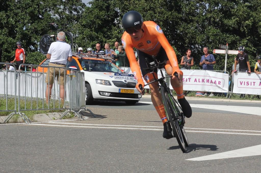 Sebastian Langeveld in actie op de tijdrit. (Foto: Frits van Eck) © rodi
