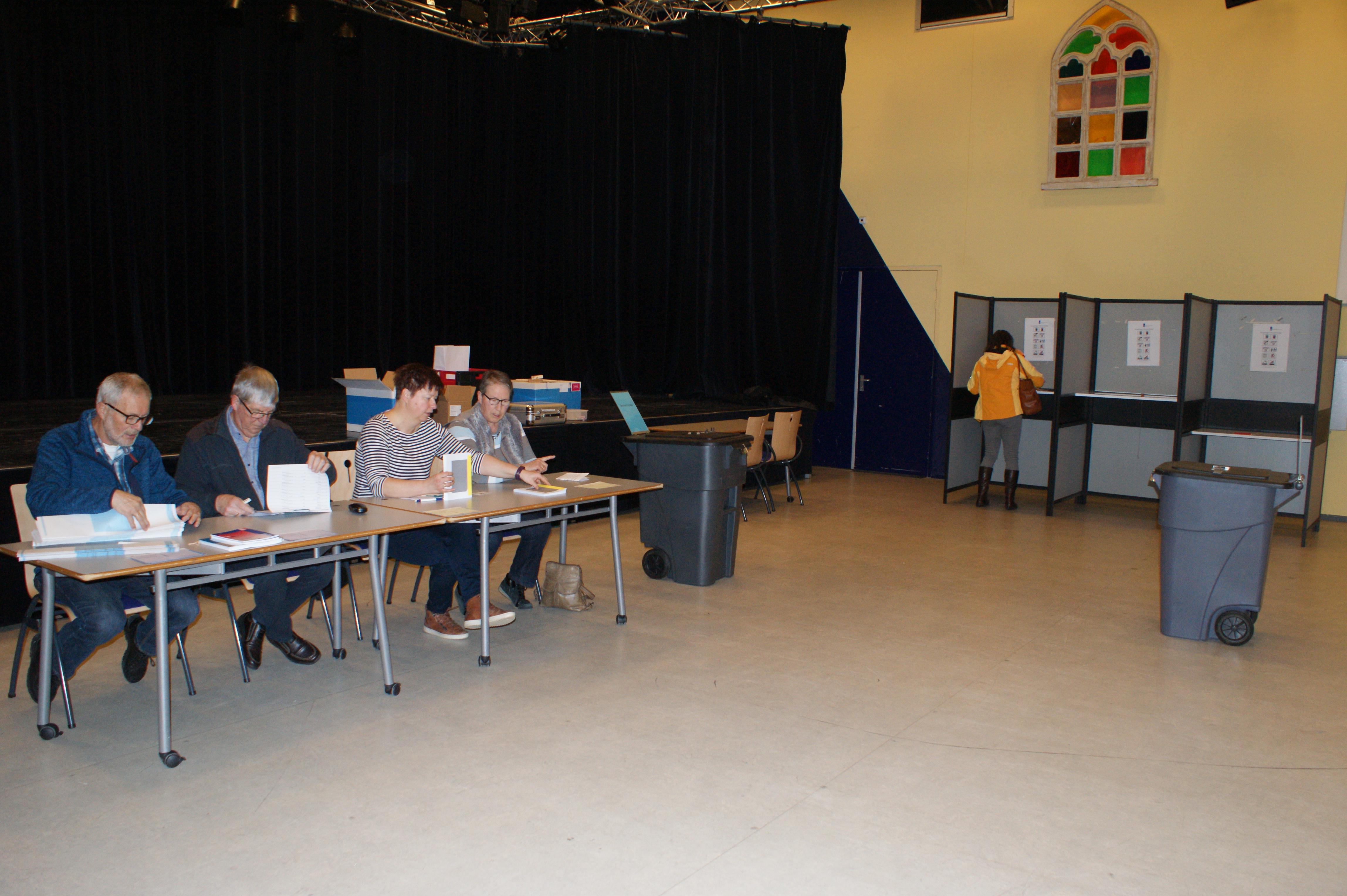 Tot 21.00 uur konden mensen gisteren stemmen. Daarna spanning op het gemeentehuis in Wognum. (Foto: JH / Rodi Media)