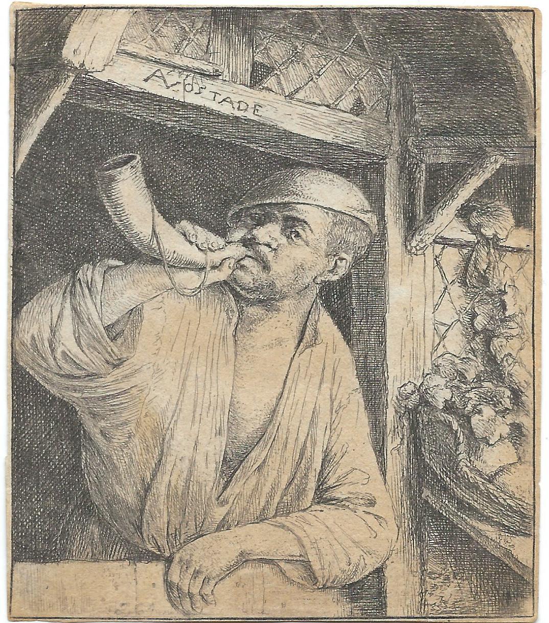 'Bakker blaast op een hoorn' (1646-1650) van Adriaen van Ostade. (Afbeelding aangeleverd)