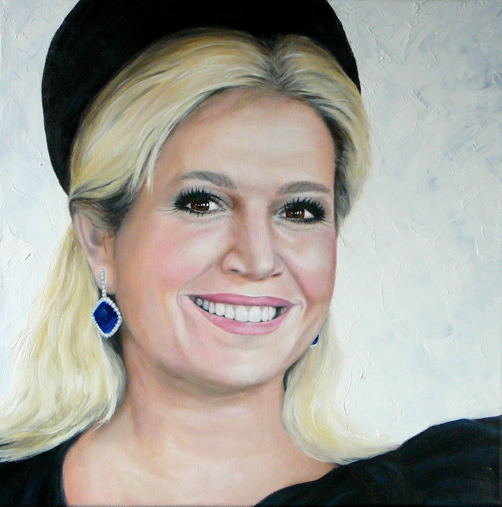 Dit portret van Koningin Maxima heeft Dinie geschilderd vanaf een foto. (Foto: gemeente Opmeer)