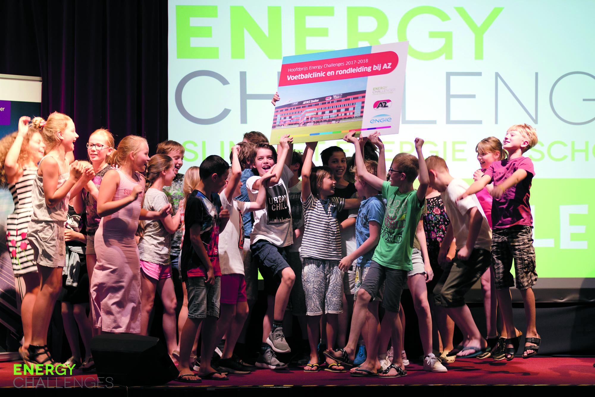 Basisschool de Cocon heeft donderdag 31 mei in de Cultuurkoepel Heiloo de Energy Challenges 2017-2018 gewonnen. (Foto: aangeleverd)