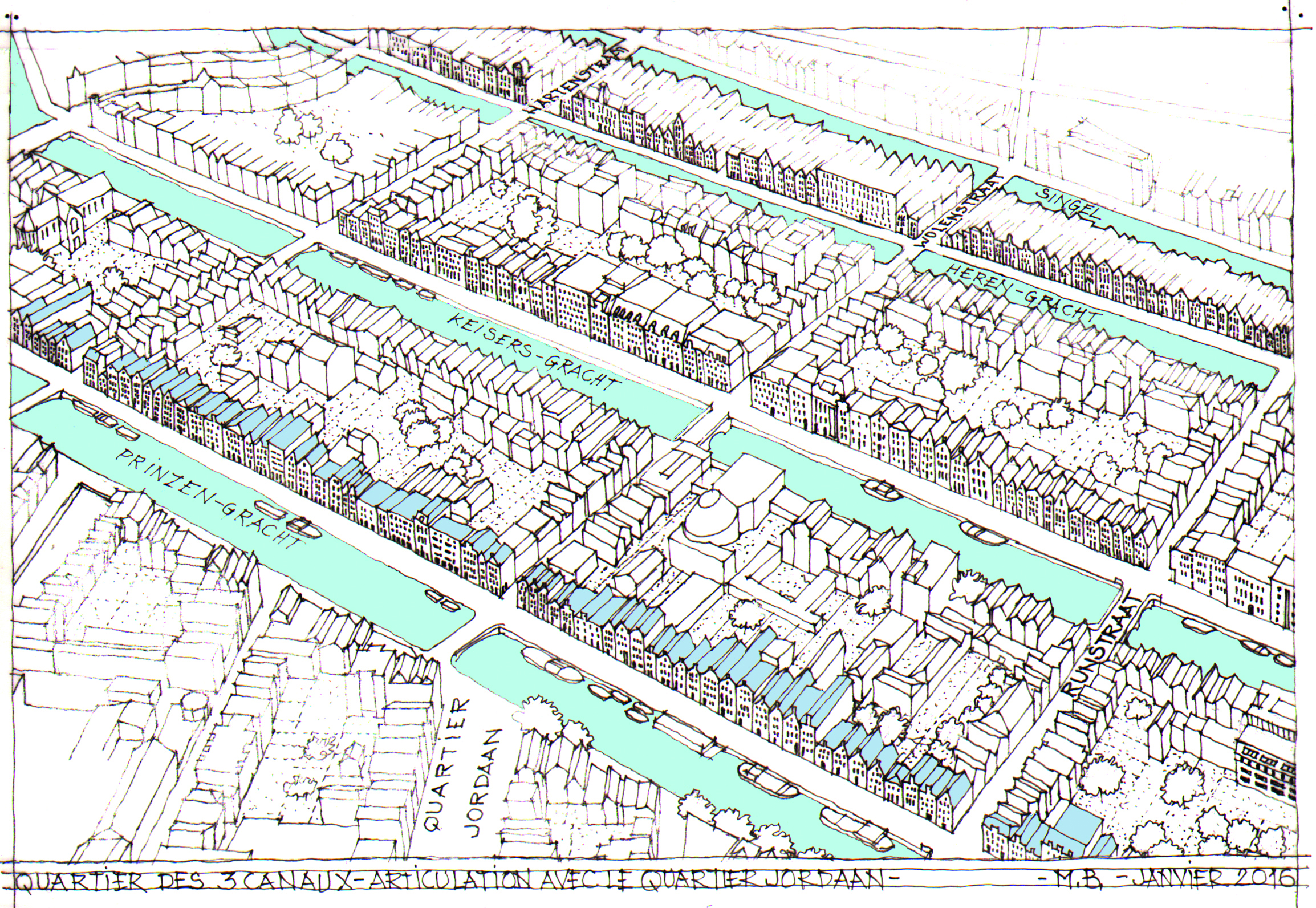 Tekening Marcel Bajard: huizen die langs de grachten uit de 17e eeuw zijn gebouwd. (Foto's: aangeleverd)