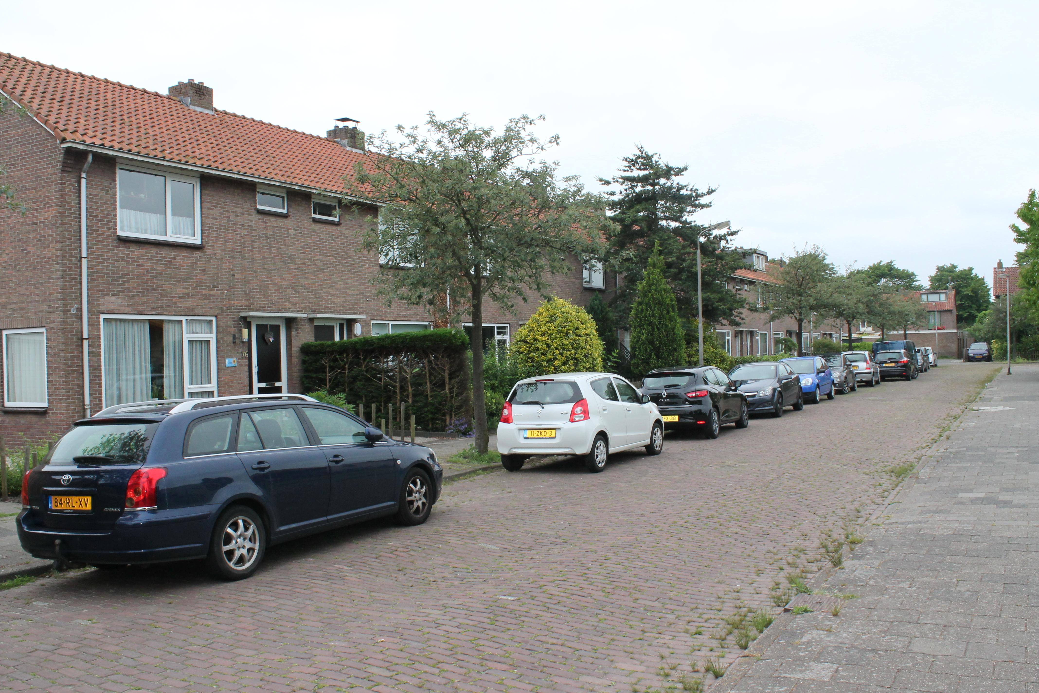 Woningen in de Gasinjetstraat Overwhere maken deel uit van de pilot. Inzet: Op een van de woningen prijkt de tekst Gasvrij. (Foto's: John Bontje)