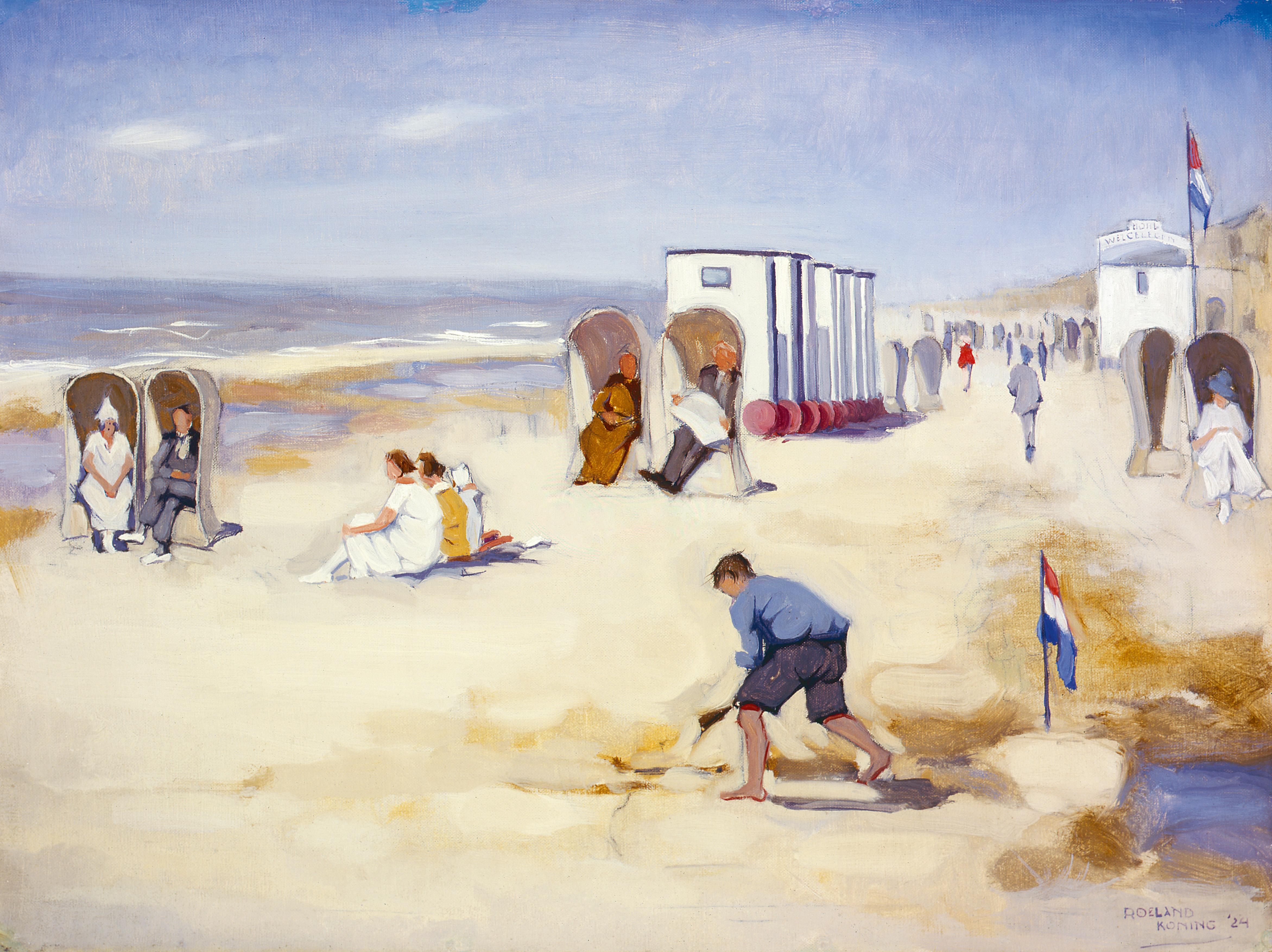 'Naar het strand' 1924. Roeland Koning: olieverf 48,3  x  64 cm. Eigenaar onbekend ( Foto Simonis & Buunk, Ede).   rodi.nl © rodi
