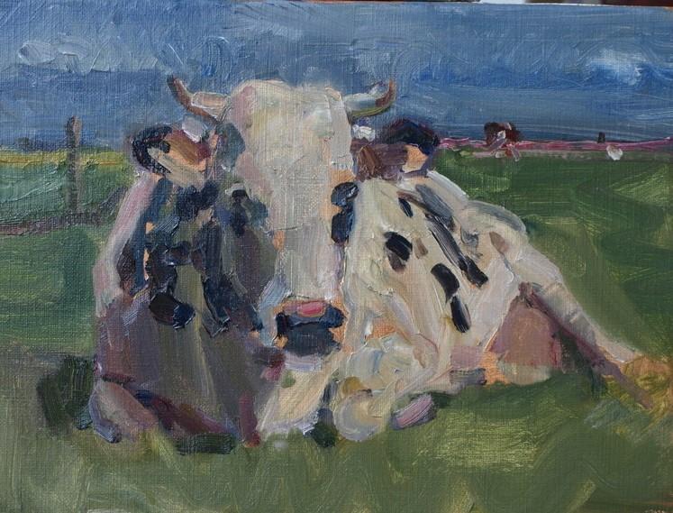 Ruud Spil is bekend van zijn schilderijen van koeien. (Foto: aangeleverd)