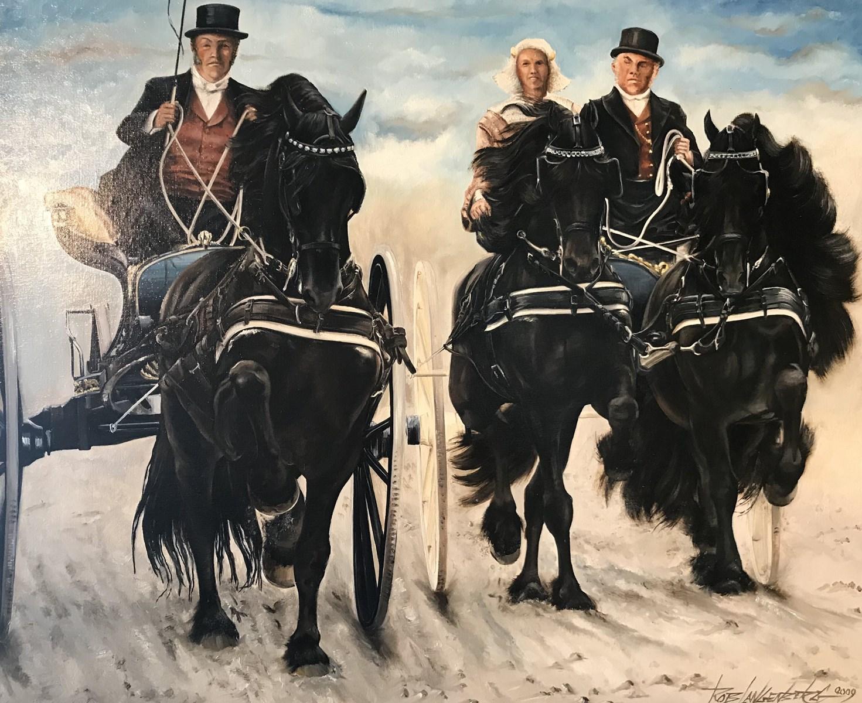 Rob Langenberg uit Heerhugowaard toont 'zijn' Friese paarden op de Schager markt. (Foto: aangeleverd)