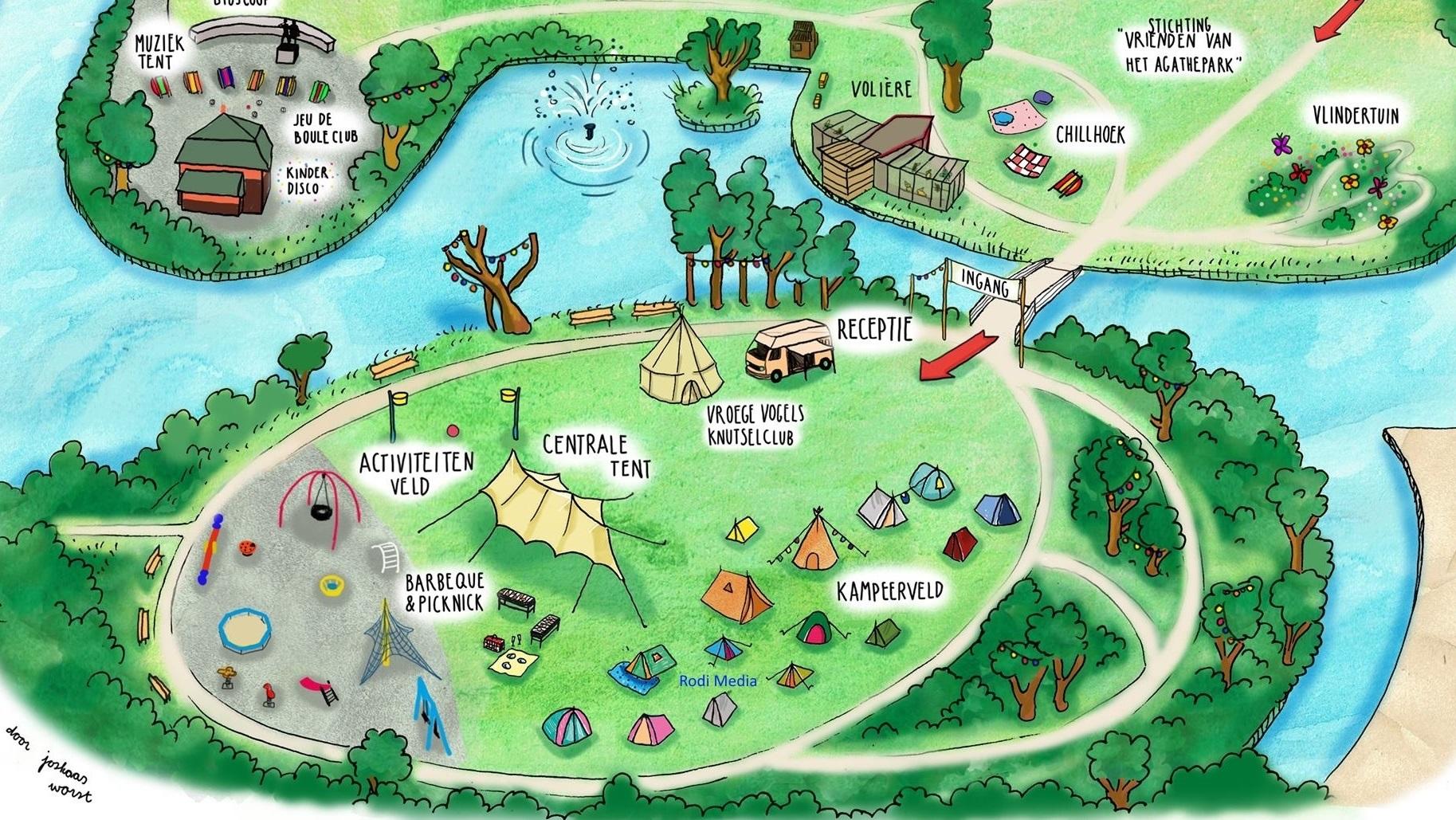 Plattegrond van een van de Buurtcampings in Zaanstad, het Agathepark. (Illustratie: De Buurtcamping)