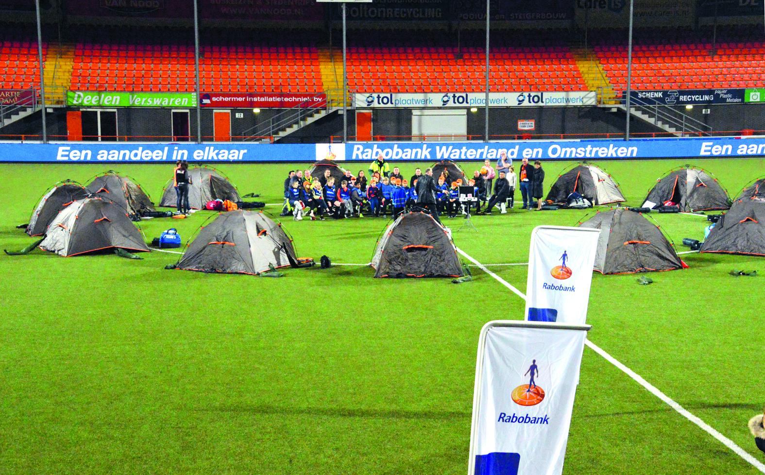 Misschien slaap jij binnenkort op de middenstip van FC Volendam. (Foto: aangeleverd)
