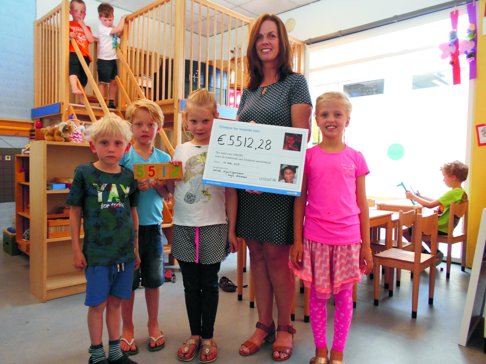 """5512,18 euro voor Unicef<br /><span class=""""chapeau"""">Ingezameld door leerlingen Montessorischool Castricum</span>"""