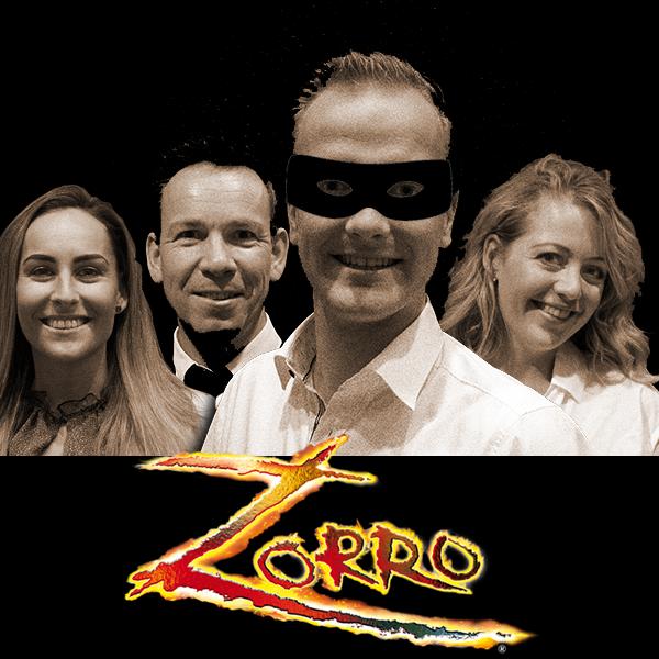 De hoofdrolspelers van 'Zorro', met vlnr. Jennifer Terwel, Leon Mulder, Wesley Lont en Daphne Dekker. (aangeleverde foto)