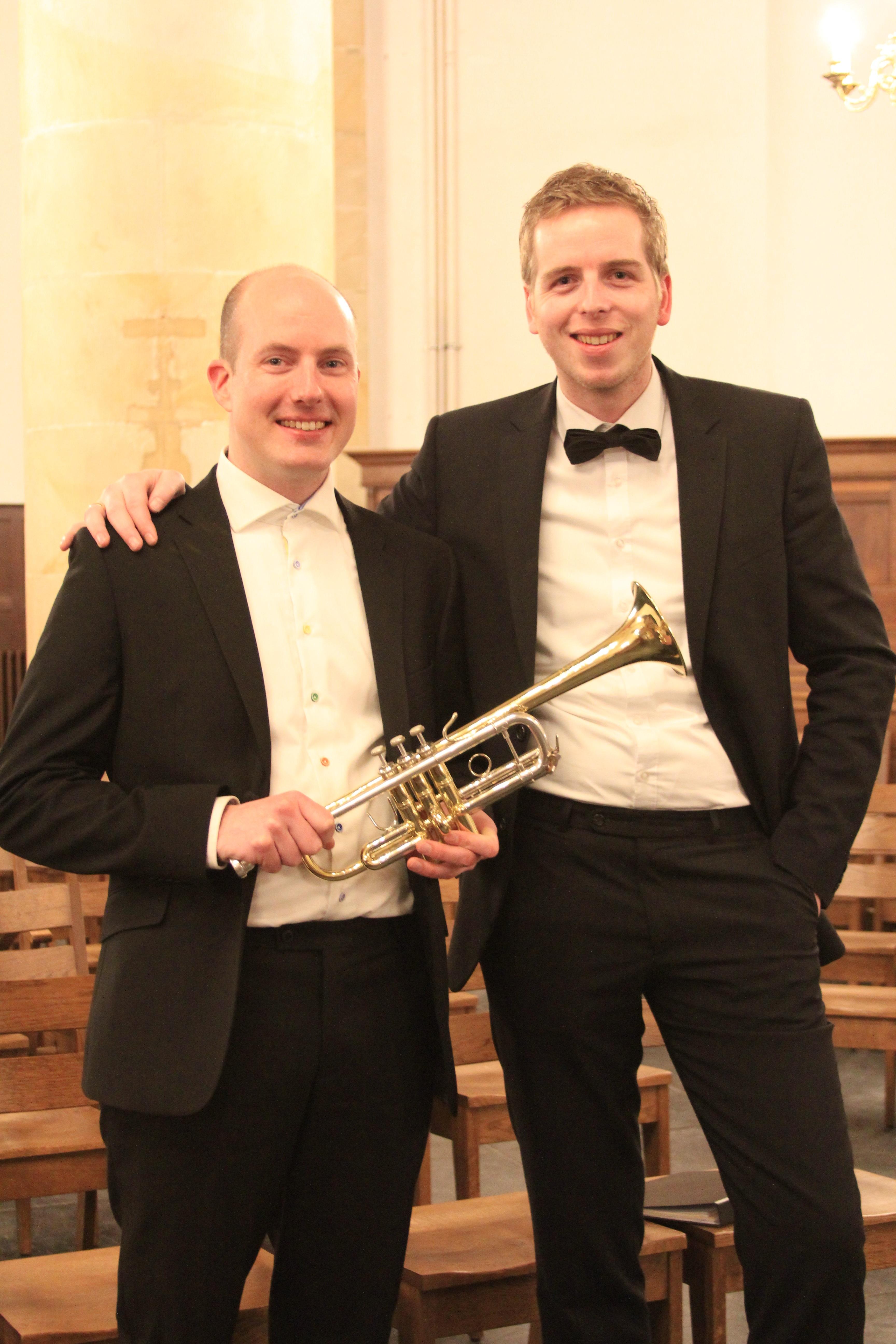 Organist Hugo van der Meij en trompettist Pascal van de Velde. (Foto: aangeleverd)