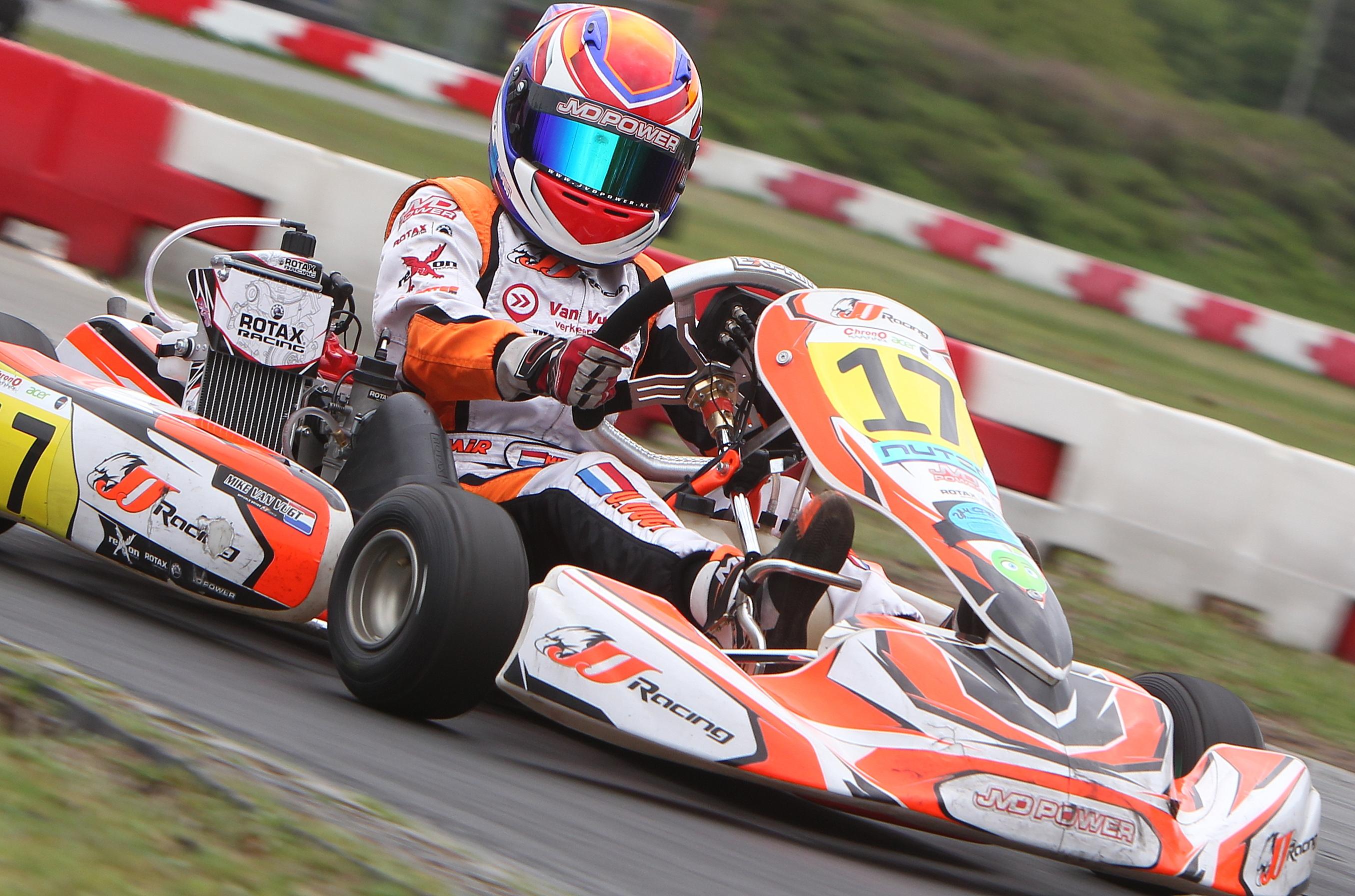 Mike van Vugt is, nog voor de laatste ronde is verreden, Europees kampioen in de Rotax Max Junioren. (Foto: aangeleverd)