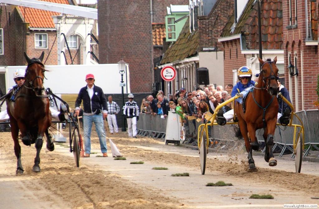 Tijdens de Harddraverijdag in Enkhuizen razen de paarden over de Paktuinen. (Foto: Maartje Brakenhoff)