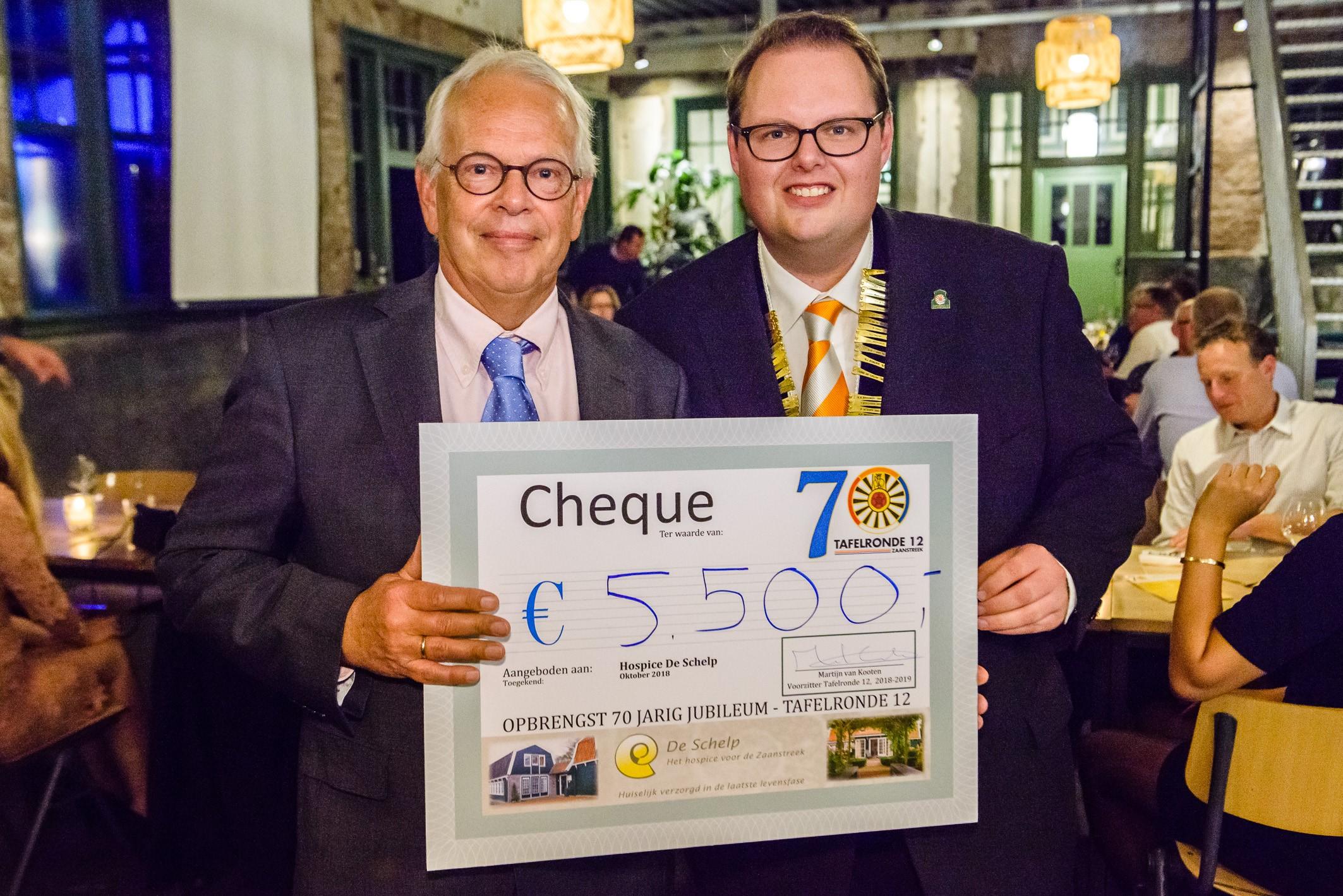 Hospice De Schelp ontving een cheque van 5.500 euro. (Foto: Pascal Fielmich / Tafelronde 12 Zaanstreek)