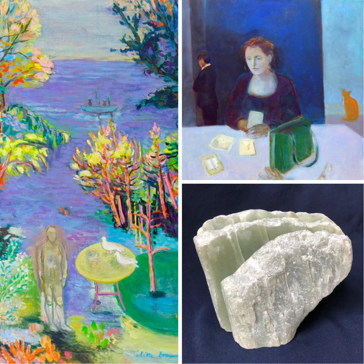 Compilatiefoto, met links werk van Ditte Brouwers, rechtsboven Bea van Huijstee en rechtsonder Jacqueline Dessing. (Foto: Het Weefhuis)
