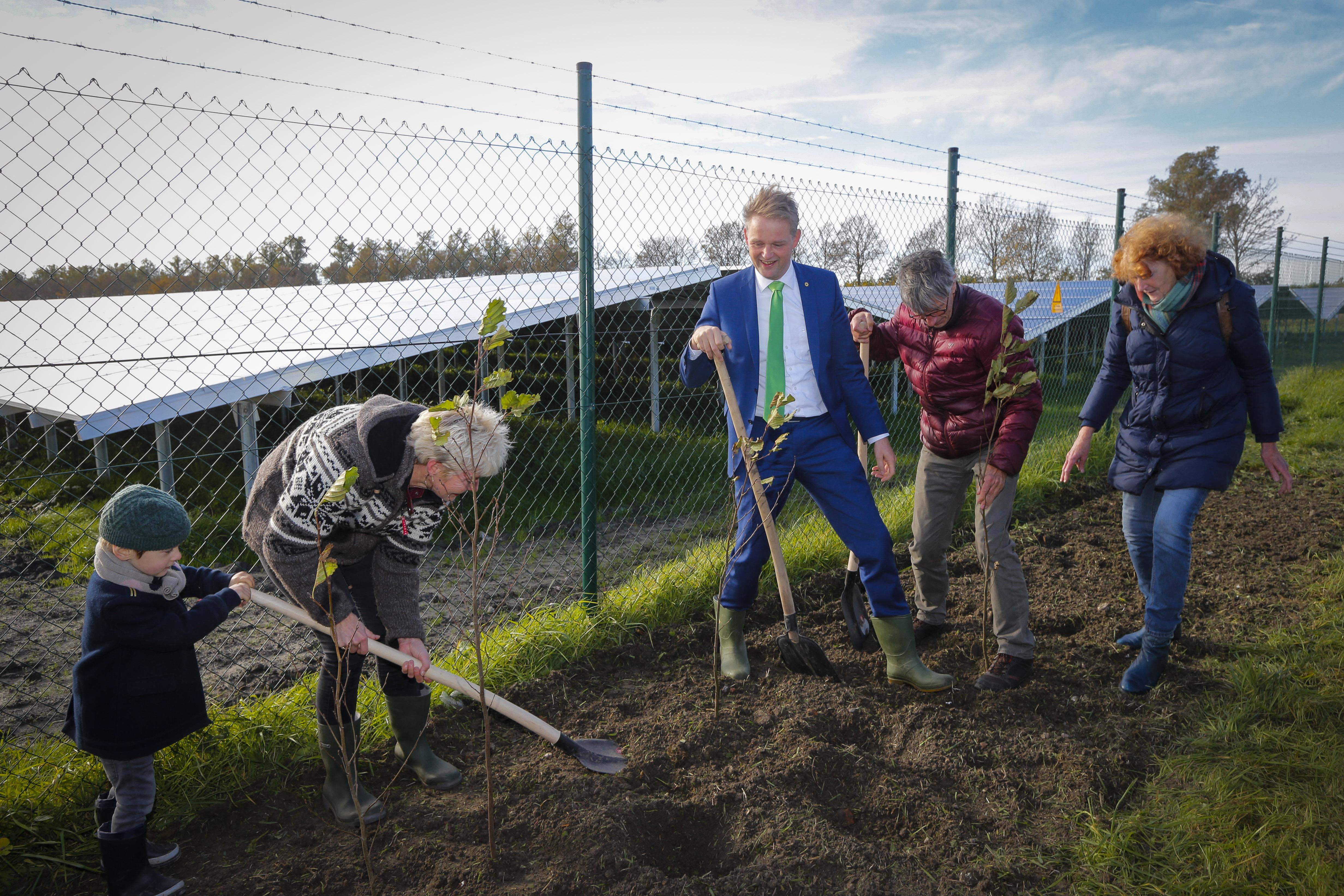 Het zonnepark moet goed ingepast worden in het landschap. Daarop opent wethouder Nederpelt het zonnepark met het planten van de eerste bomen en struiken van de omsluitende bomenhaag. (Foto: aangeleverd)