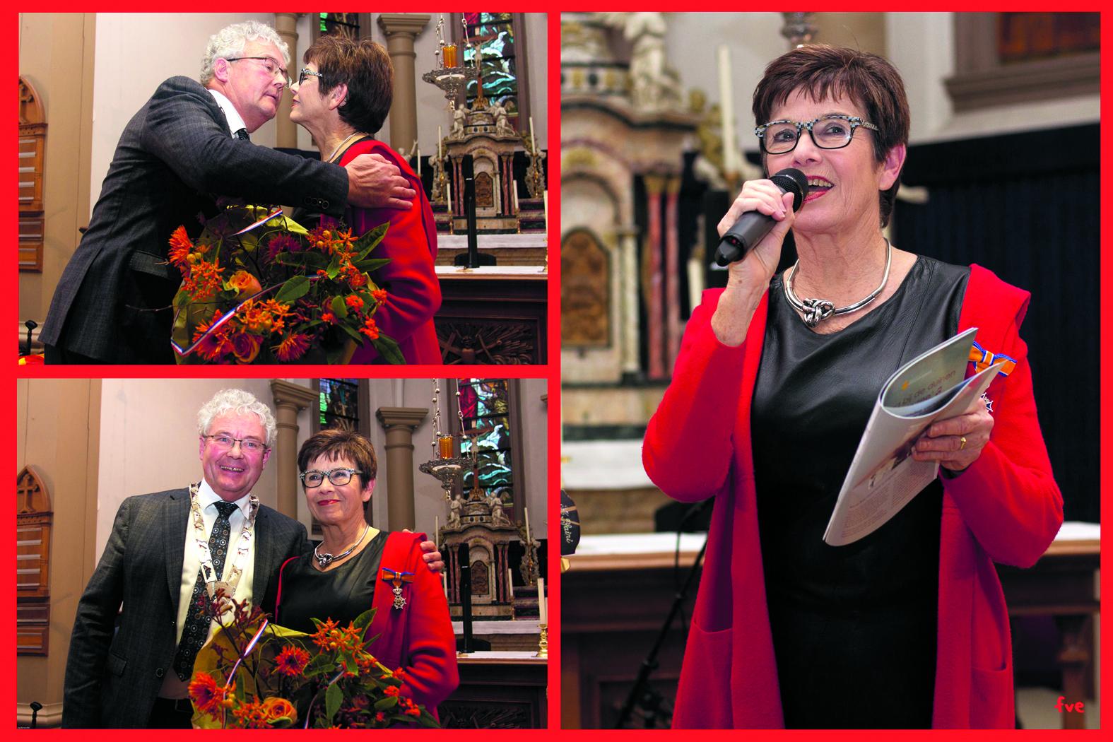 In een afgeladen Sint Agnes kreeg Carla Kager door loco-burgemeester Houtenbos een Koninklijke onderscheiding uitgereikt. (Foto's: Frits van Eck)