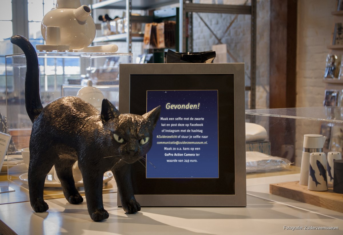 Bij de wedstrijd 'Zoek de zwarte kat' gaat het winkelend publiek op zoek naar een zwarte kat in de deelnemende etalages. (Foto: aangeleverd)