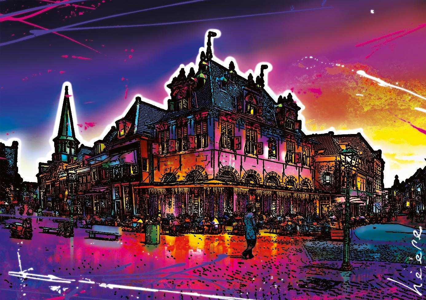 Kleurrijk stadsgezicht Hoorn door Raymond Heere. (Afbeelding aangeleverd)