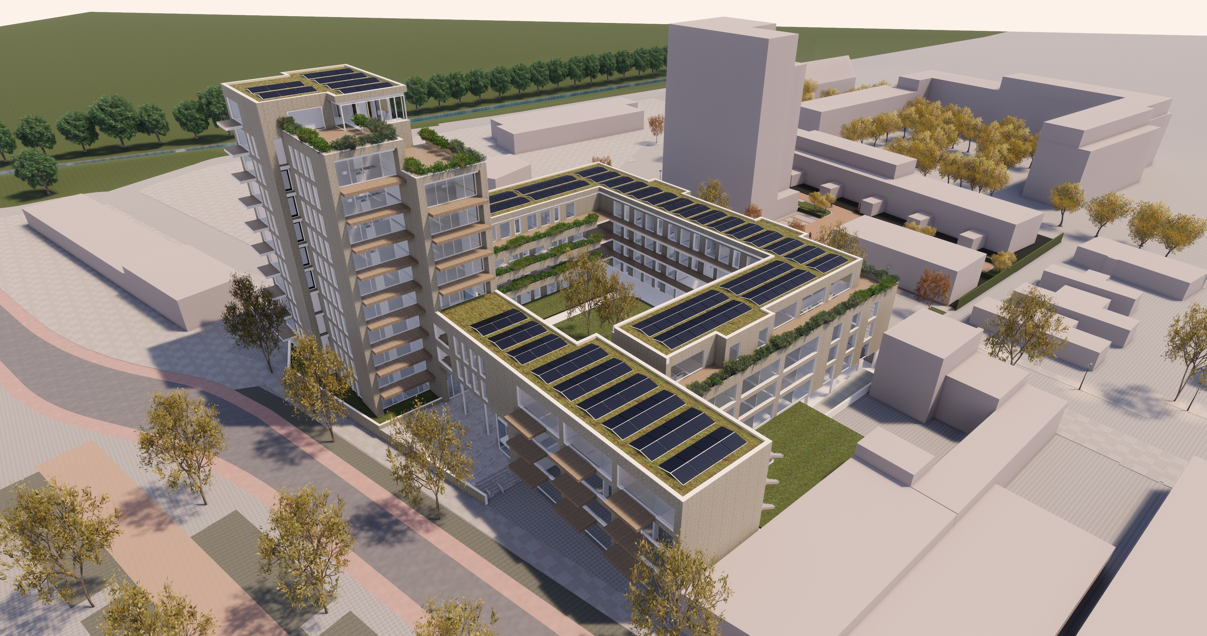 Het ontwerp voor de woontoren die op de hoek van de Vennelaan en de Beijneslaan moet verrijzen.