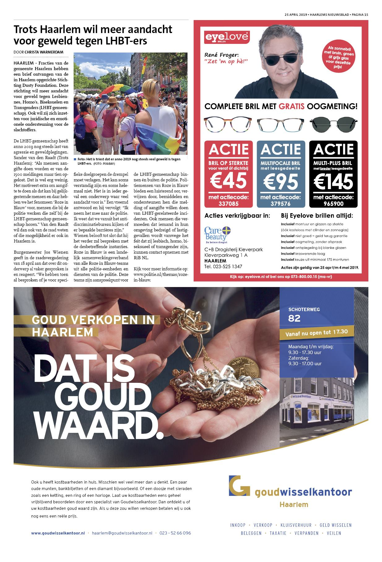 6bc0235c1a74a8 Haarlems Nieuwsblad 25 april 2019
