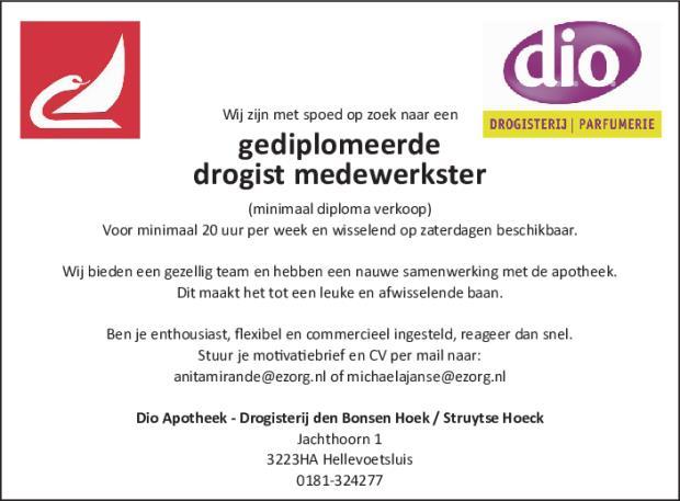 motivatiebrief drogisterij GrootHellevoet.nl   Vacature gediplomeerde drogist medewerkster motivatiebrief drogisterij
