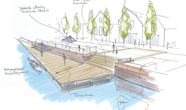 Een schetsidee van HDK architecten voor de Turfkade. De beleving van het water moet daar beter worden, vindt men