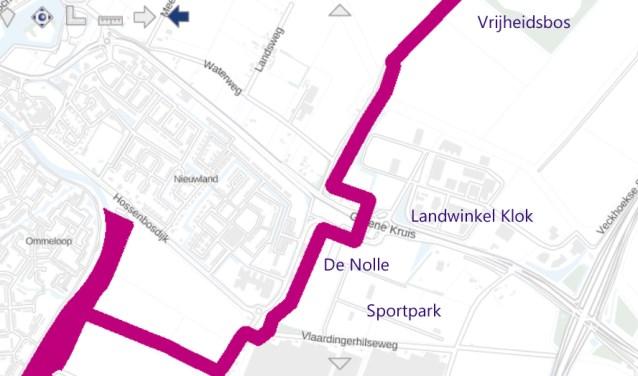 Deze in paars aangegeven route is een van de Brielse onderdelen van het in aanleg zijnde 680.000 hectare grote Nederlandse natuurnetwerk