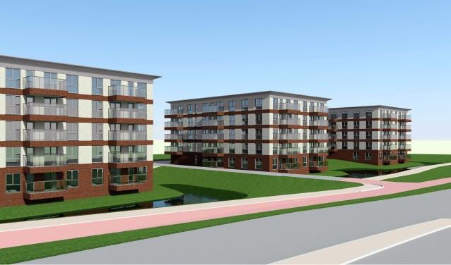 Dit is de concept impressie van de 81 appartementen