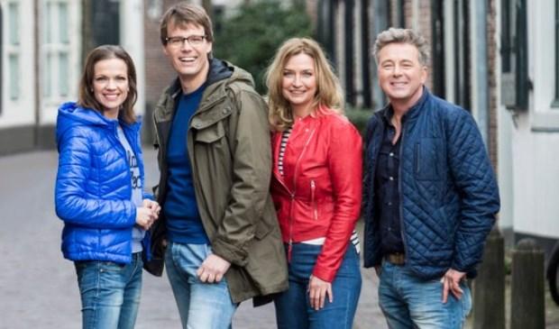 De presentatoren Bert van Leeuwen, Henk van Steeg, Hella van der Wijst en Mirjam Bouwman van 'Geloof en een Hoop Liefde'