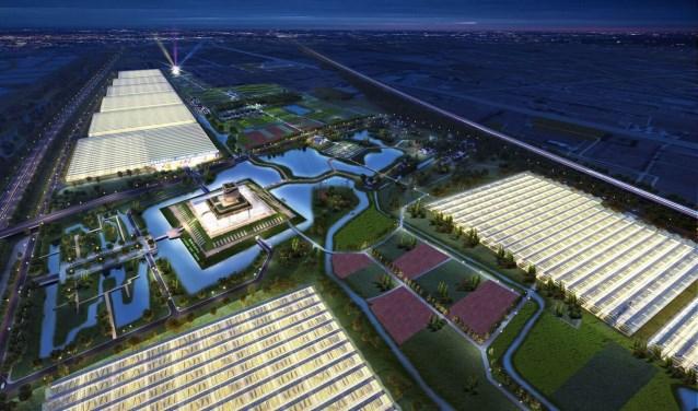 Artist impressions van het toekomstige High-Tech Agriculture Park in Jiashan, China. (KuiperCompagnons)