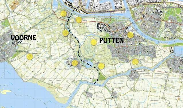 Voor bestuurlijk samenwerking wil Brielle nu kijken naar heel Voorne-Putten. Anders dan vaak wordt gedacht, ligt de grens  van Voorne niet bij het Voorns kanaal, maar bij de Bernisse (stippellijn). Bron Nissewaardig.nl