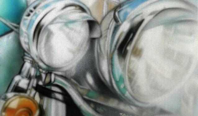 Het schilderij voor de verloting tijdens de vernissage