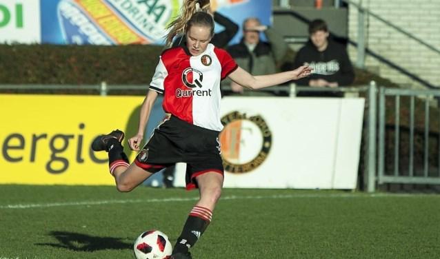 Robine de Ridder jaagt haar droom na om via Feyenoord en het NL-elftal terecht te komen bij Barcelona. Foto Johan Meijboom.