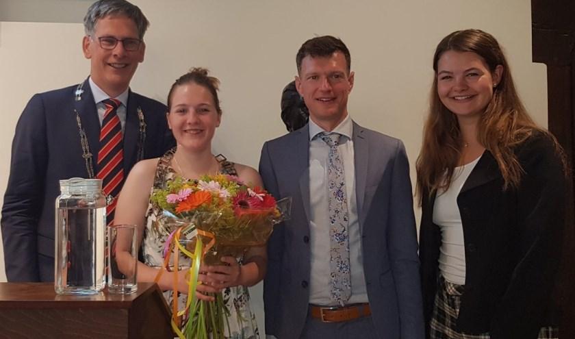 Vlnr: Piet-Hein Daverveldt, Jiska Taal, Bram Rosenbrand (UvW) en Anna Spijkervet.
