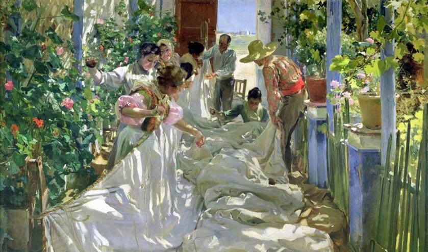 Schilderij De Zeilmakers uit 1896 van Joaquin Sorolla.