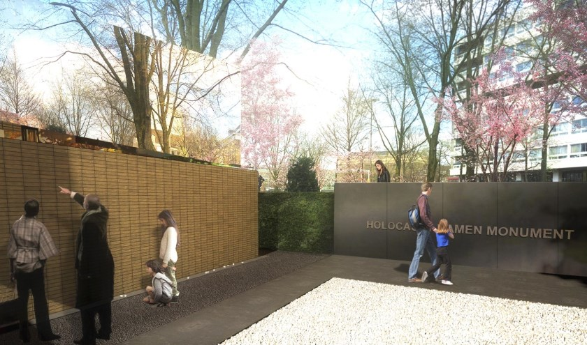 Artist impression of het Holocaust Namenmonument, midden in het Joods Kwartier in Amsterdam. Foto: (PR)