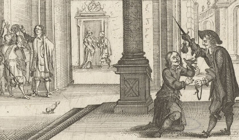 Cornelis de Witt geeft verschoning aan een verkrachter (Willem Tichelaar), Gaspar Bouttats, 1672, collectie Rijksmuseum Amsterdam